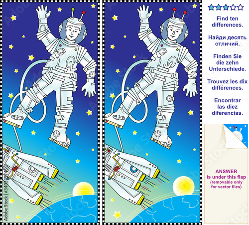 Foto op Canvas Kosmos Find the differences visual puzzle - astronaut in space
