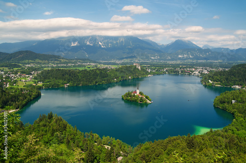 Fototapeta Panoramic View of  Lake Bled in Slovenia. obraz na płótnie