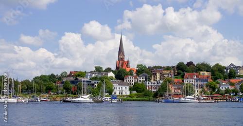 Tuinposter Stad aan het water Flensburger Segelhafen