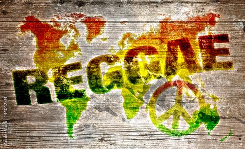 Plakat na zamówienie World reggae music concept for peace
