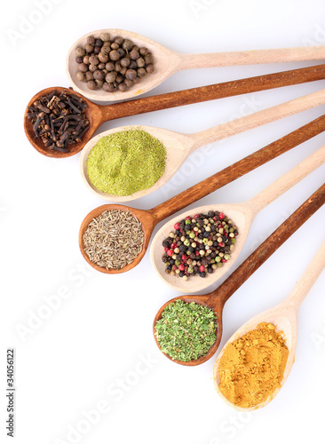 Foto op Aluminium Kruiden 2 spices in the spoons isolated on white