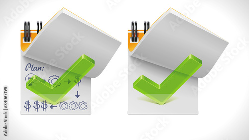 Photo  Vector open notepad with check mark XXL icon