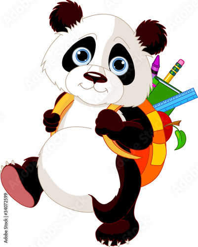 Cute panda go to school