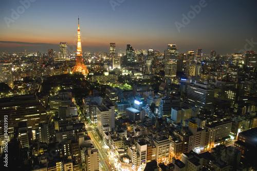 Deurstickers Tokio 東京夜景