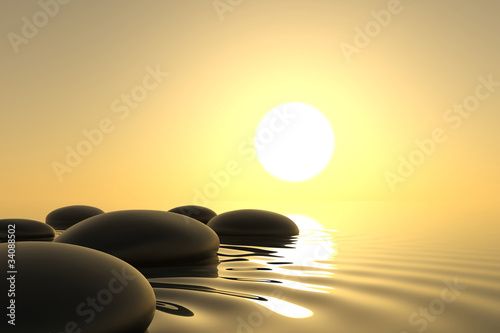 Zen stones in water on white background - 34088502