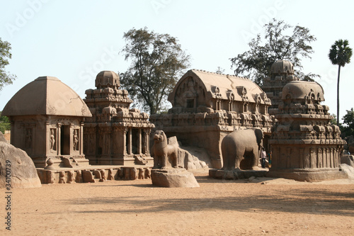 Fotografie, Obraz  Five Rathas in Mahabalipuram India