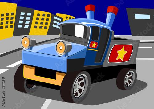 Foto op Canvas Cars cartoon old heavy car