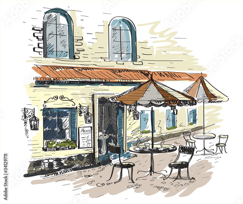 Wall Murals Drawn Street cafe Street cafe