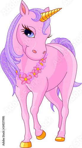 Fotobehang Pony Beautiful Pink Unicorn