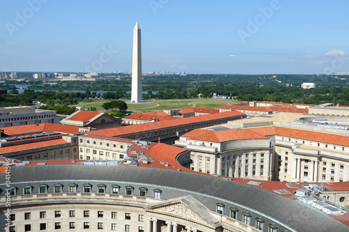 Poster Artistic monument Aerial view on Washington DC