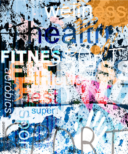 FITNESS. Word Grunge collage on background. #34161547