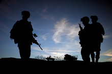 Silhouette Of Modern Soldiers ...