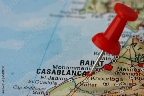 Pushpin on the map - Casablanca, Morocco