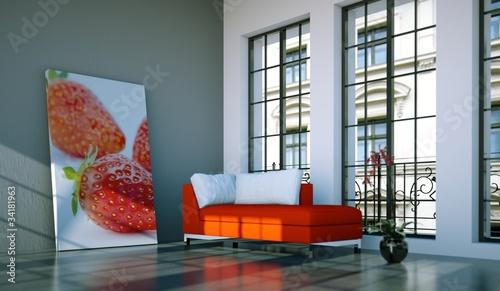 Wohndesign - rotes Sofa im Loft Wallpaper Mural