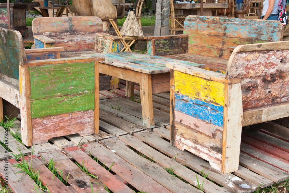 Photo & Art Print salon de jardin, bois récupération ...