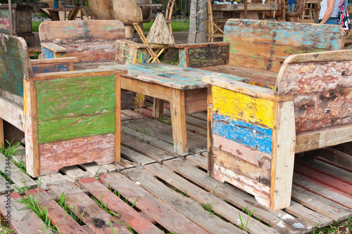 salon de jardin, bois récupération - Buy this stock photo and ...