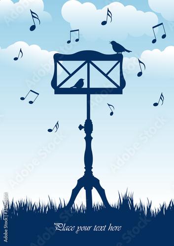 Leinwand Poster Vögel sitzen auf Notenständer