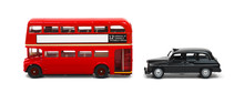 Red London Bus And Taxi Isolated On White
