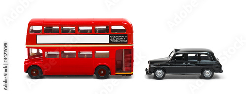 Foto op Canvas Londen rode bus Red London bus and taxi isolated on white