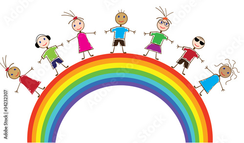 Fotobehang Regenboog vector funny people and rainbow