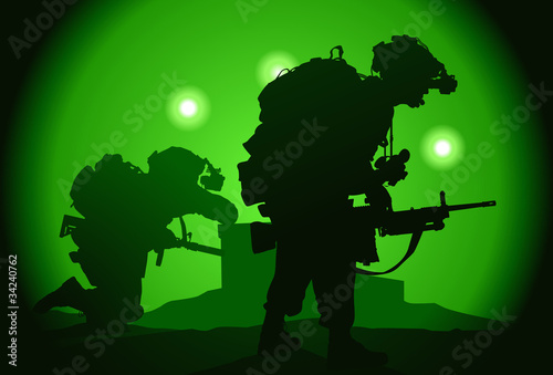 La pose en embrasure Militaire Two US soldiers used night vision goggles