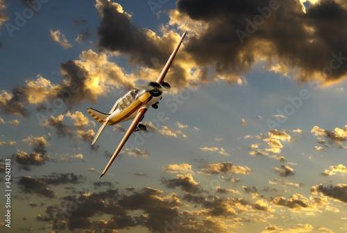 Türaufkleber Hubschrauber avion sur ciel en feu
