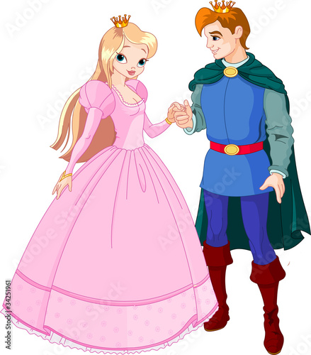 Ingelijste posters Ridders Beautiful prince and princess