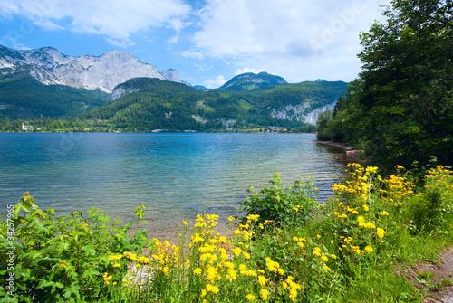 Fototapeta Alpine summer lake view obraz na płótnie