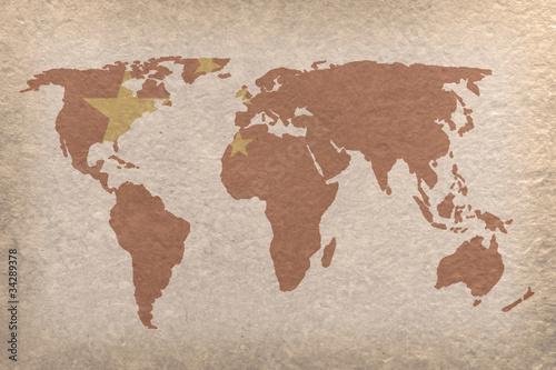 Foto op Aluminium Wereldkaart China world map