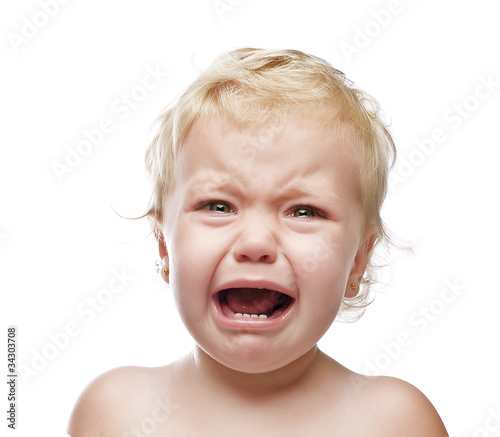 crying baby girl isolated Fototapet