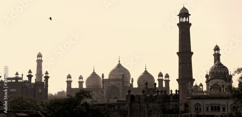 Skyline of ancient arabic city Lahore at dusk in Pakistan.