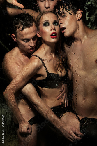 Printed kitchen splashbacks Artist KB Sexy woman posing with men