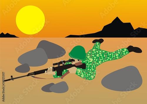 Poster Militaire Снайпер в пустыне