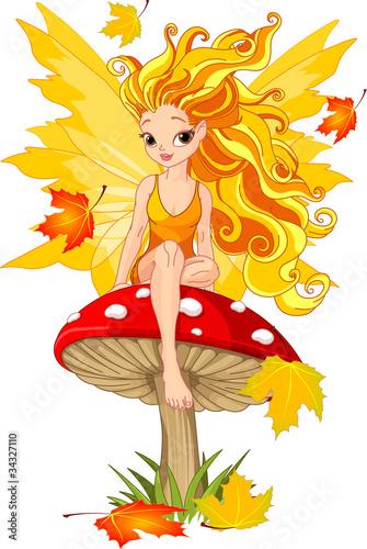 Aluminium Prints Magic world Autumn Fairy on the Mushroom