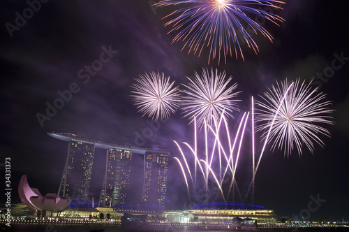 Photo  Fireworks over Marina Bay Sands