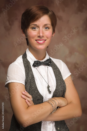 Fotografie, Obraz  Attractive Smiling Red Haired Young Adult Female Portrait