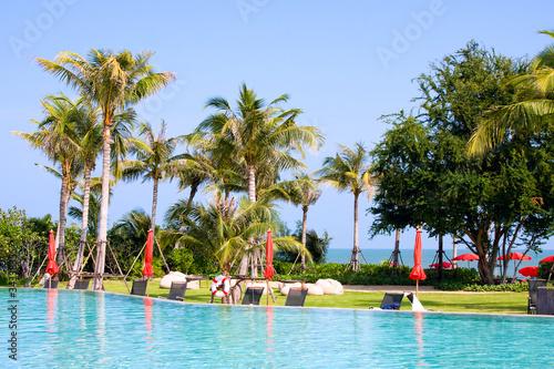 Fototapety, obrazy: Swimming pool in luxury resort near the sea