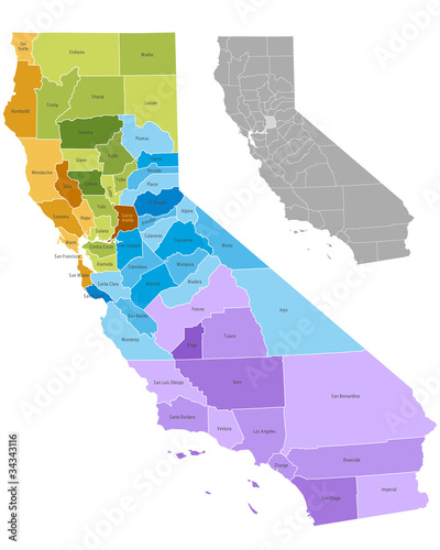 California state counties map with boundaries and names ...