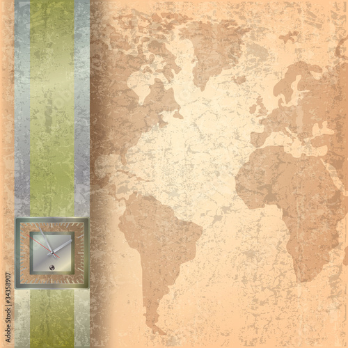Foto auf AluDibond Alte schmutzig texturierte wand Abstract business grunge background with clock