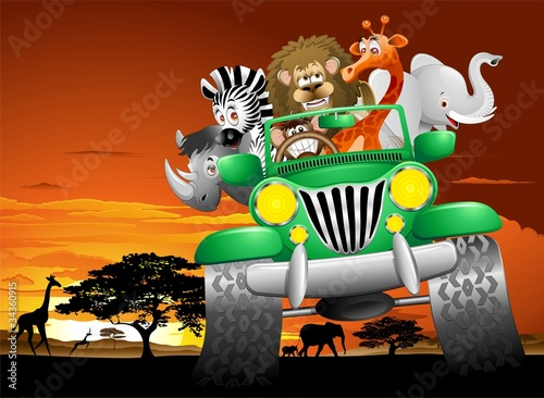 Poster de jardin Zoo Geep Animali Selvaggi Cartoon Savana-Wild Animals On Jeep
