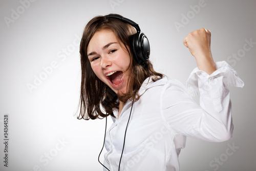 Poster womenART Girl with headphones