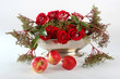 flowers, róże i jabłka