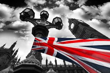 Naklejka Big Ben with colorful flag of England, London, UK