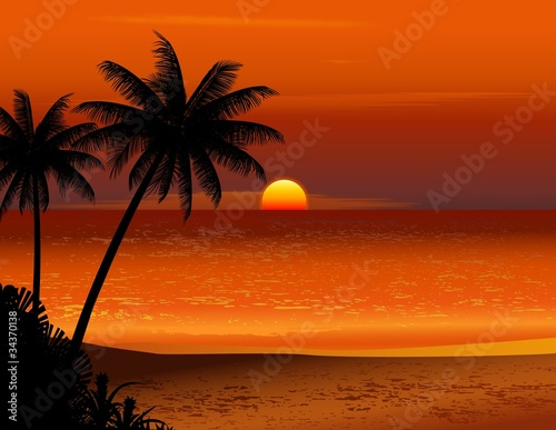 Fototapeta tropical beach sunset obraz