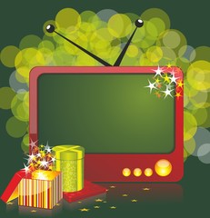 Vintage TV with  place for your text and giftboxes