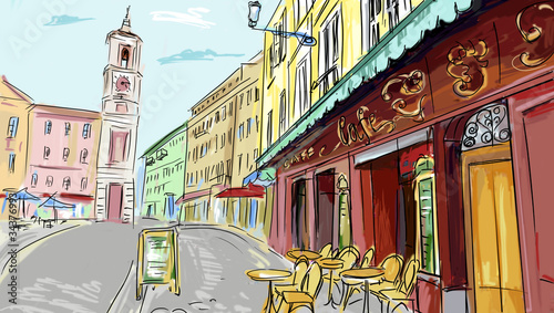 Spoed Foto op Canvas Drawn Street cafe illustration. street - facades of old houses