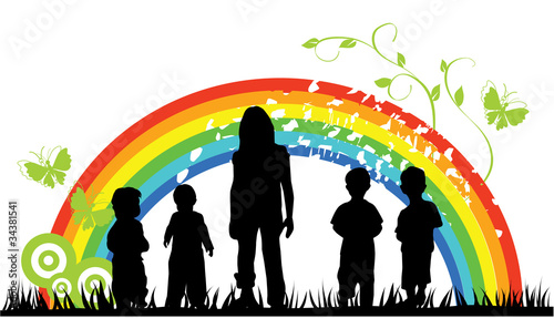Tuinposter Regenboog vector children silhouettes and rainbow