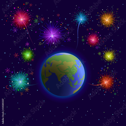 Foto op Canvas Kosmos Earth and firework