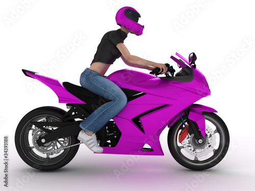 Poster Motocyclette woman on a motorcycle