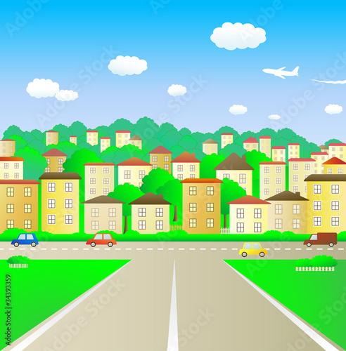 Papiers peints Avion, ballon broad road leading into town